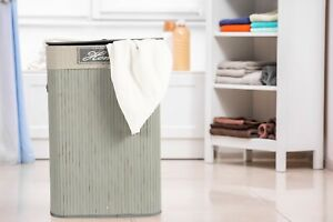 Wickerfield Bamboo Laundry Basket Clothes Storage Bag Sorter With Lid