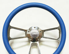 1977 -1985 Nova Steering Wheel - Billet Aluminum & Sky Blue, Chevy Horn, Adapter