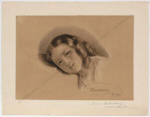 """Marianne von Eschenburg (1856-1937) """"Head study"""", drawing, 1870"""