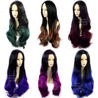 Wiwigs Long Wavy Ombre Dip-Dye Ladies Wigs Black Brown Red Blue Purple Green