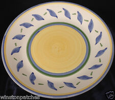 """WILLIAMS SONOMA ITALY TOURNESOL 13 7/8"""" CHOP PLATE PLATTER YELLOW & BLUE BANDS"""