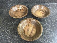 3 Vintage Wooden Salad Bowls