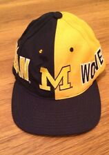 Michigan Wolverines Logo NCAA Blue Yellow Hat Cap SnapBack Hat Cap 100% Wool