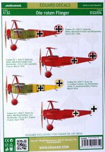 Eduard Decals D32006 1/32 Die roten Flieger Fokker Dr.1 MENG