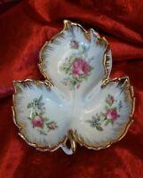 """Vintage Kelvin Fine China Leaf Shaped Divided Nut Candy Bowl Trinket Dish 7 1/4"""""""