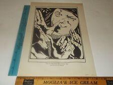 Rare Original Vintage 1929 Rabelais Funny Gesture Bosschère Wood Cut Art Print