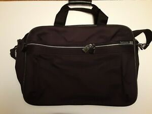 Samsonite Black Canvas Laptop Messenger Bag Carry On with Shoulder Strap