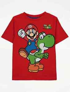 Super Mario And Yoshi Dinosaur Red Short Sleeve T-Shirt Top Age 3-4 Years NEW