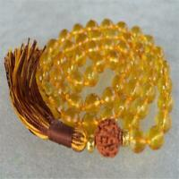 8mm Citrine Gemstone 108 Beads Tassels Mala Necklace energy Bless Fancy Lucky