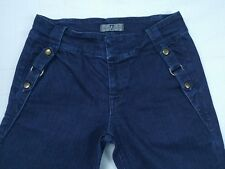 7 FAM Seven For All Mankind Style Unique Snaps Front Strap Wide Flare Jeans 29