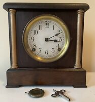Antique Sessions Two Pillar Shelf Mantle Gong Ding Bell Alarm Deco Clock