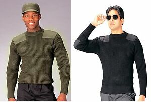 Military Type Wool Commando Sweater 100% Wool Warm Shirt w/ Accented Patches