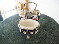 Welsh Gaudy Imari Colors Cobalt Blue Antique Mustard Porcelain Cruet Set