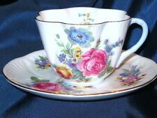SHELLEY GERMAN PINK ROSE SPRAYS on DAINTY Shape CUP & SAUCER 2368-FAB!