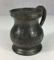 Antique Pewter 1/2 Pint Measure Tankard 9.5cm In Height