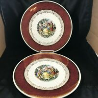 Pair of Vintage ROAYL CHINA Warranted 22k Gold Colonial Dinner Plates