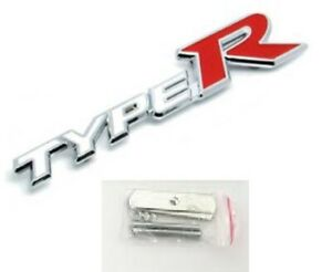 1 x Honda Type R White / Red Front Grill Badge Metal Emblems ( Free Delivery )
