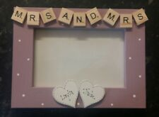 "Bespoke Personalised Mrs and mrs photo Frame 6""x4"" scrabble art gift keepsake"