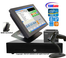Team Sable i3 POS Retail Complete Touch Station 4GB MSR Windows 7 with pcAmerica