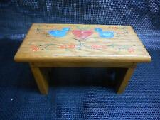 Old Vtg 1984 Oak Wood Milking Stool Garden Step seat Hand-Painted Artist Signed