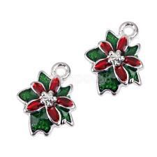10pcs Silver Enamel Christmas Flower Charm Pendant Jewelry Bracelet Findings