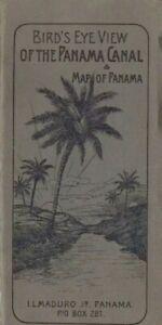 CA 1915 BIRD'S EYE VIEW OF THE PANAMA CANAL & MAP OF PANAMA