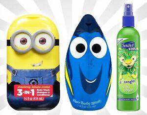 Minions 3-in-1 Shampoo Conditioner Finding Dory Body Wash Suave Apple Detangler