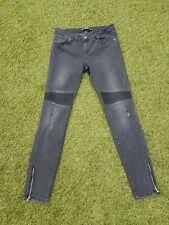 Zara Trafaluc Denim Faded Black Skinny Jeans Ripped Zipped Size 10 28inch waist