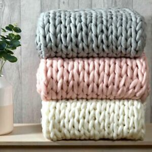 Luxury Chunky Wooly Hand Knitted Cable Knit Blanket Sofa / Bed Throw 120x150cm