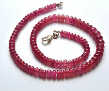 "NATURAL 16"" SUPER NATURAL PINK SAPPHIRE SMOOTH RONDELLE BEADS NECK 5.5 - 8.5 MM"