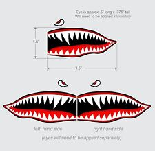 "Flying Tigers shark teeth decal sticker 1.5"" t x 3.5"" w WWII Military Airplane"