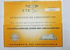BREITLING CERTIFICAT DE CHRONOMETRE 2129623