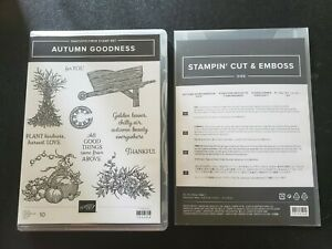 Stampin Up! AUTUMN GOODNESS Cling Stamp Set + AUTUMN WHEELBARROW DIES