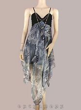 Robe voile graphique T. UNIQUE = 38 40 42 44 46 gris bijou NEUF Dress Fête été
