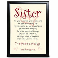 Personalised What Sister Means Gift Special Birthday Christmas Thanks Keepsake