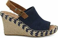 Toms Womens monica Open Toe Casual Slingback, Navy Suede/Leather, Size 7.5 Hxp0