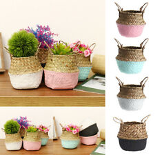Foldable Seagrass Belly Woven Basket Flower Plant Pots Storage Bag Home