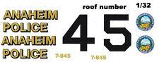 ANAHEIM, Ca. Police Cruiser Black & White 1/32nd Scale Slot Car Waterslide Decal