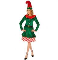 Natale Babbo Natale Donna Elfo Costume con Cappello e campane Smiffys