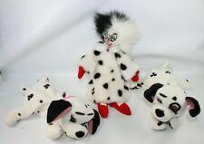 Disney Beanies 101 Dalmatians Lot of 3 Lucky Jewel Cruella Plush Dalmatians.