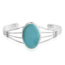 """Turquoise 925 Sterling Silver Bangle Cuff Bracelet Jewelry Gift 7"""" Ct 3.75"""