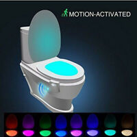 Toilet night light 8-color LED body sensor activates the bathroom seat LC