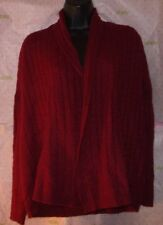 $60 MAX STUDIO WEAVED KNIT MERINO WOOL CARDIGAN SWEATER SMALL CRANBERRY TOP
