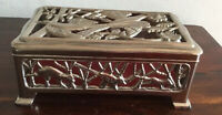 Lovely Vintage Depositato Silver Tone Jewellery/Decorative Box Made In Italy
