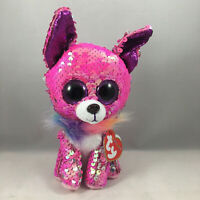 """Ty Flippables 6/"""" Yappy Pink and Blue dog Sequin Color Changing Series1Edition"""