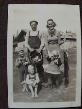 CUTE FARM FAMILY, MOM HOLDING A LARGE FISH, DAUGHTER HOLDING SMALL 1930's PHOTO