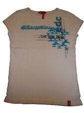 Edc by Esprit tolles T-Shirt Gr. 152 / 158 weiß mit blauem Druckmotiv !!