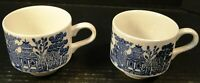Churchill Blue Willow Blue White Cups England Set of 2