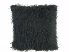 BLACK FAUX MONGOLIAN LARGE FUR CUSHION COVER WITH FAUX SUEDE BACK  60x60cms