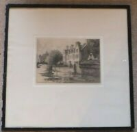 "Signed Old Original Etching ""The New Buildings from the River""  Gertrude Hayes"